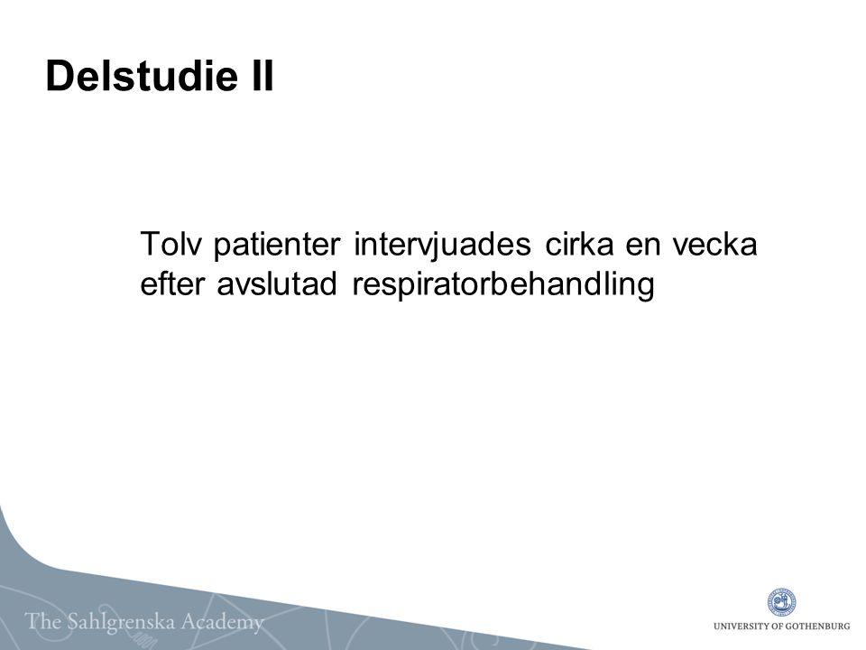 Delstudie II Tolv patienter intervjuades cirka en vecka efter avslutad respiratorbehandling