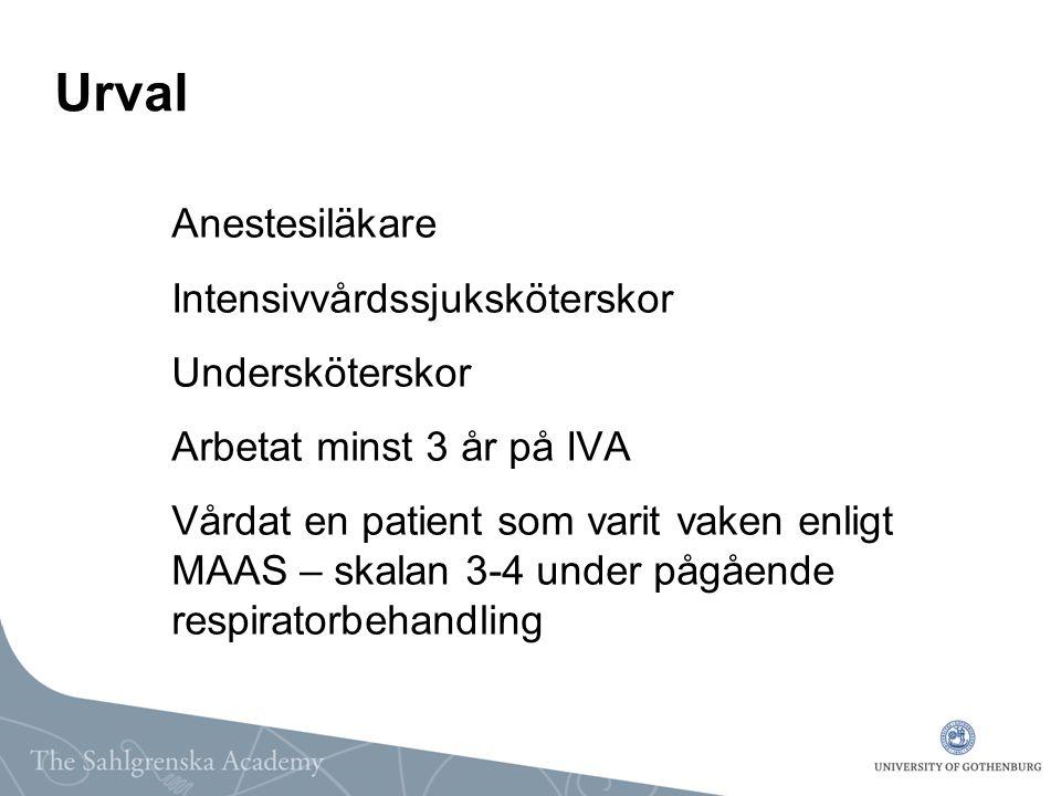 Urval Anestesiläkare Intensivvårdssjuksköterskor Undersköterskor Arbetat minst 3 år på IVA Vårdat en patient som varit vaken enligt MAAS – skalan 3-4