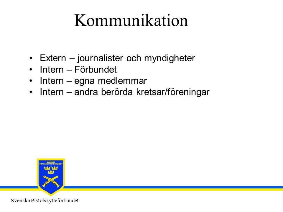 Svenska Pistolskytteförbundet Kommunikation Extern – journalister och myndigheter Intern – Förbundet Intern – egna medlemmar Intern – andra berörda kr