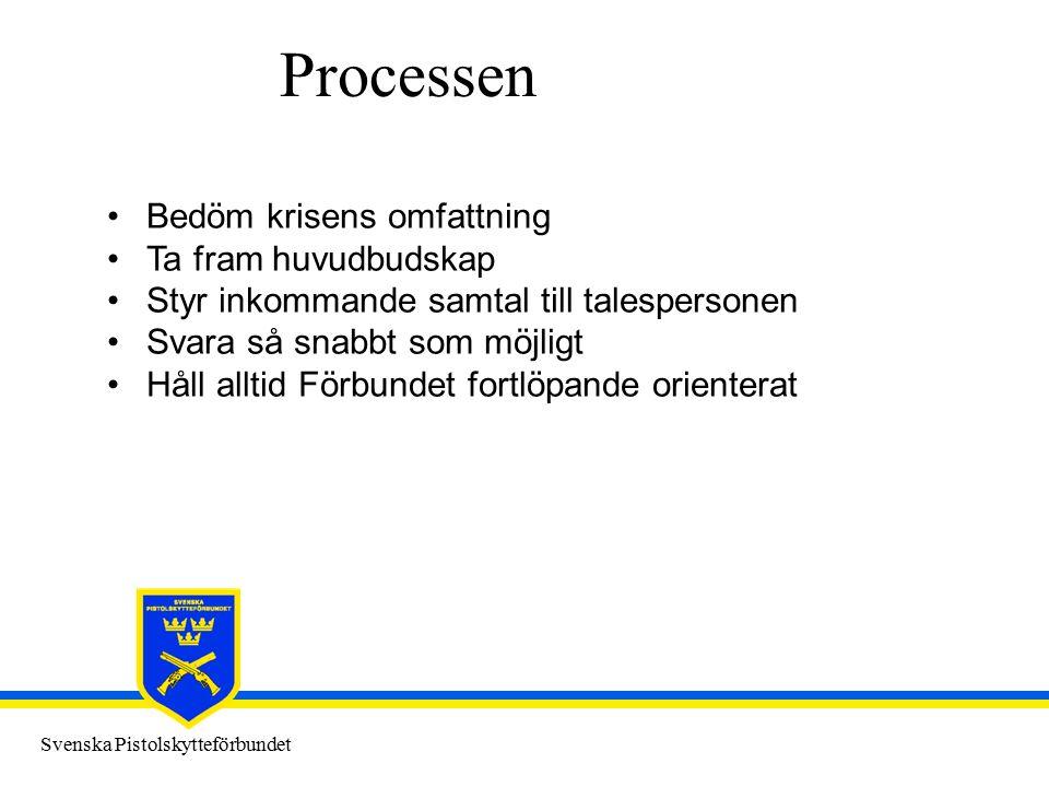 Svenska Pistolskytteförbundet Processen Bedöm krisens omfattning Ta fram huvudbudskap Styr inkommande samtal till talespersonen Svara så snabbt som mö