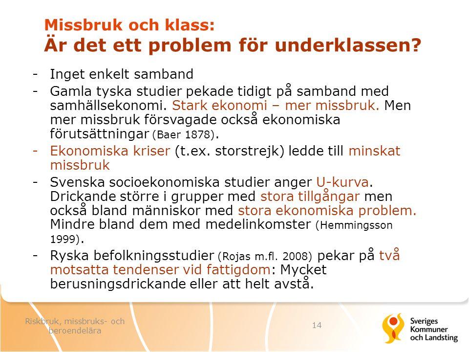 Missbruk och klass: Är det ett problem för underklassen? -Inget enkelt samband -Gamla tyska studier pekade tidigt på samband med samhällsekonomi. Star