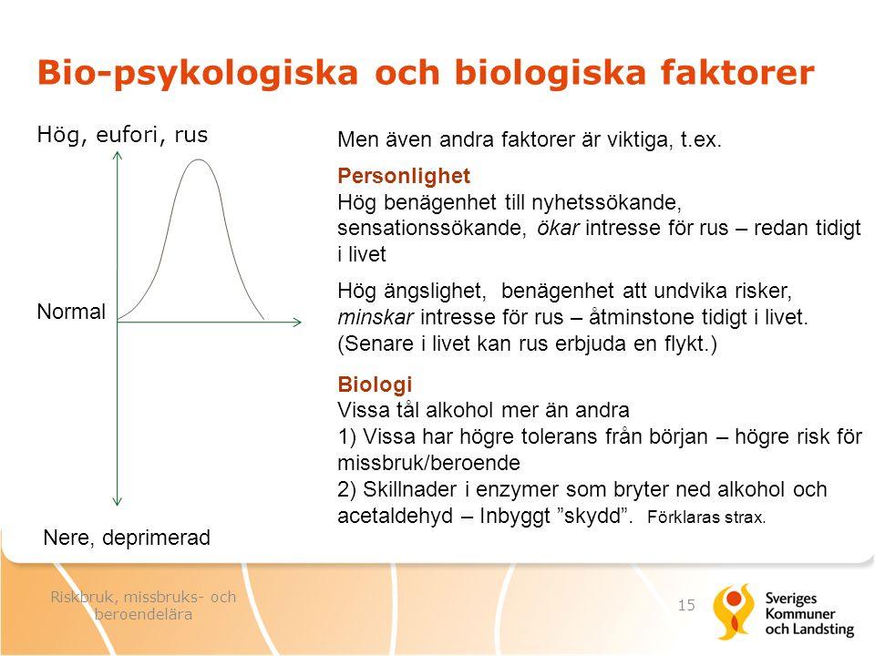 Bio-psykologiska och biologiska faktorer Hög, eufori, rus Nere, deprimerad Men även andra faktorer är viktiga, t.ex. Personlighet Hög benägenhet till