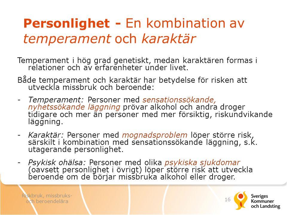 Personlighet - En kombination av temperament och karaktär Temperament i hög grad genetiskt, medan karaktären formas i relationer och av erfarenheter u
