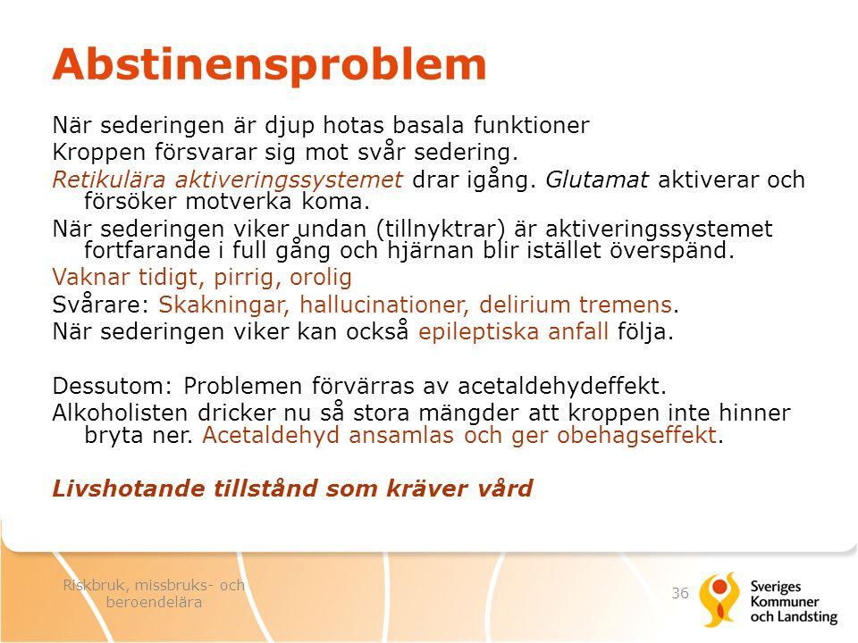 Abstinensproblem När sederingen är djup hotas basala funktioner Kroppen försvarar sig mot svår sedering. Retikulära aktiveringssystemet drar igång. Gl