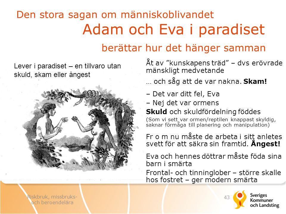 """Den stora sagan om människoblivandet Adam och Eva i paradiset berättar hur det hänger samman Åt av """"kunskapens träd"""" – dvs erövrade mänskligt medvetan"""