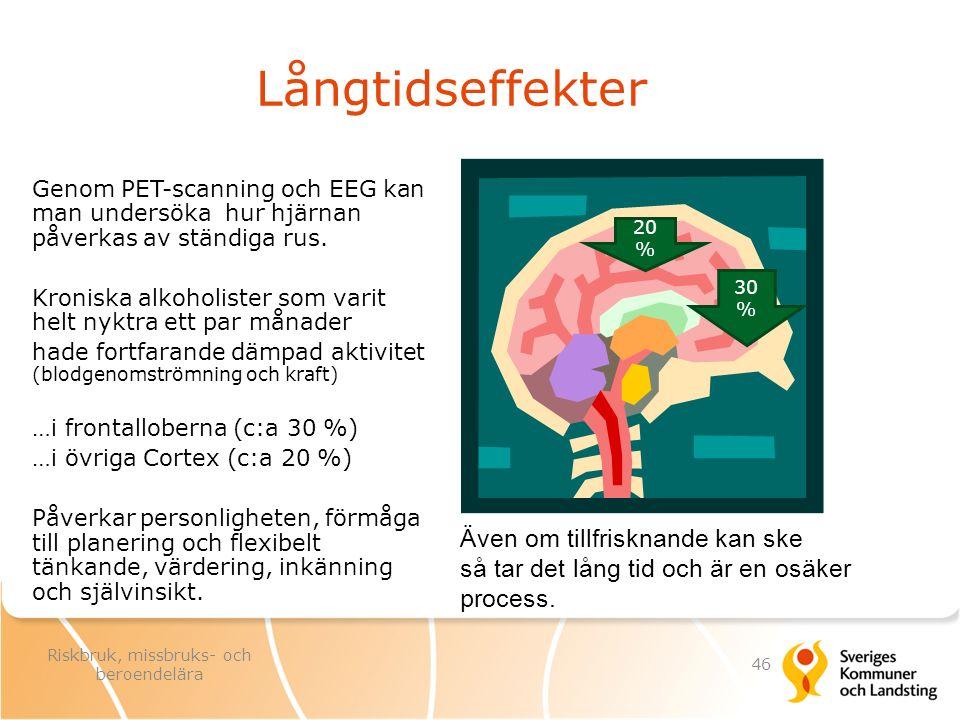 Långtidseffekter Genom PET-scanning och EEG kan man undersöka hur hjärnan påverkas av ständiga rus. Kroniska alkoholister som varit helt nyktra ett pa