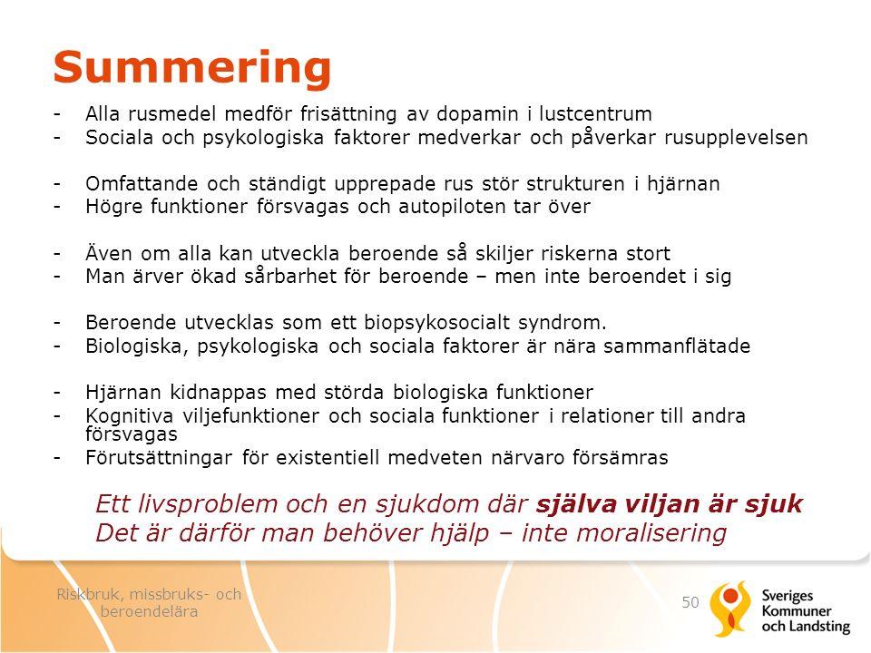 Summering -Alla rusmedel medför frisättning av dopamin i lustcentrum -Sociala och psykologiska faktorer medverkar och påverkar rusupplevelsen -Omfatta