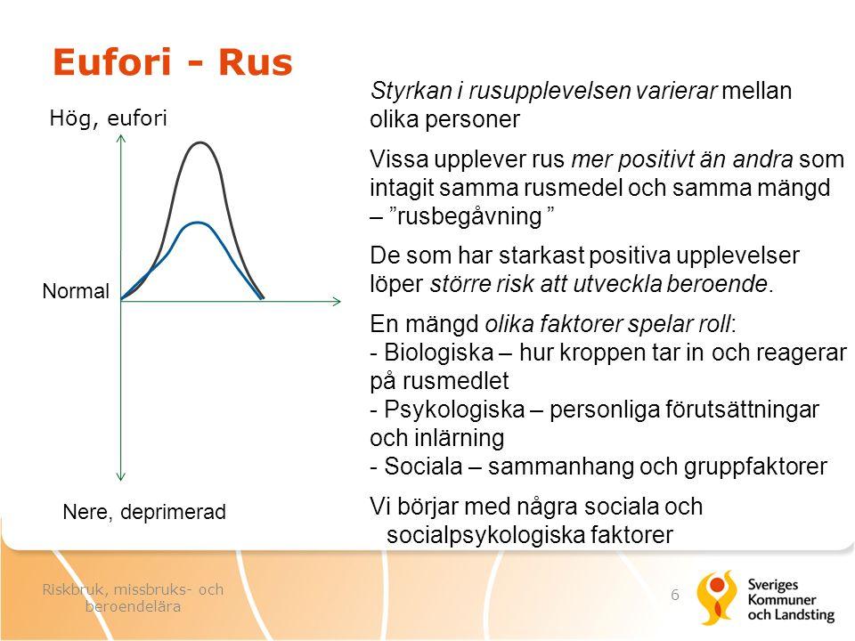 Sociala och socialpsykologiska faktorer Hög, eufori, rus Nere, deprimerad Flera sociala och psykologiska faktorer påverkar styrkan i eufori- och rusupplevelser, t.ex -Setting (ljus, ljud, inramning) -Positiv förväntan -Normer som bejakar lust -Modellpersoner -Social gemenskap - grupptryck -Ruspositiv kultur (påverkar förväntan, normer och grupptryck) För alkohol- och drogrus är också tillgång till rusmedel givetvis viktig och beror bl a av -Ekonomiska tillgångar -Kontakter med dem som har rusmedlen -Samhällets alkohol- och drogpolitik Normal 7 Riskbruk, missbruks- och beroendelära