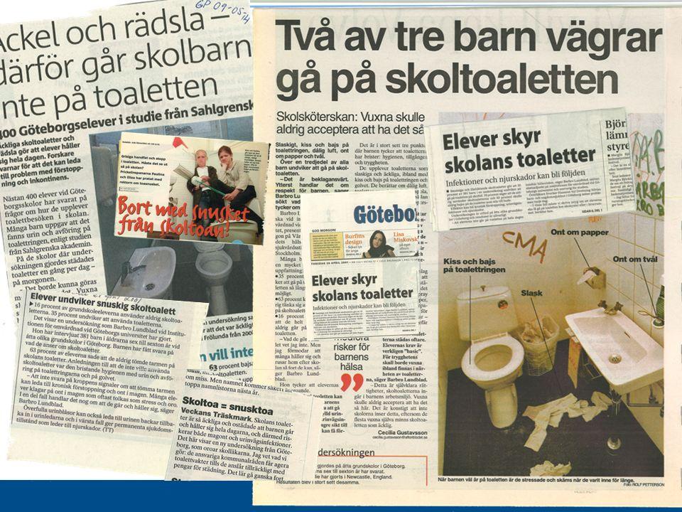 www.gu.se Toalettvanorna under skoltid 16% av samtliga barn (25% av de äldre) kissade aldrig på toaletten i skolan 63% av samtliga barn (80% av de äldre) bajsade aldrig på toaletten i skolan