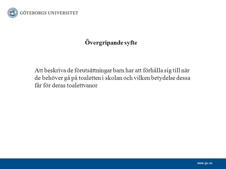 www.gu.se Barns erfarenheter i skolan när de behandlas för funktionell blåsrubbning Personliga intervjuer med tjugo 8 – 14 åriga pojkar och flickor i 20 grundskolor i Göteborg eller dess omedelbara närhet.