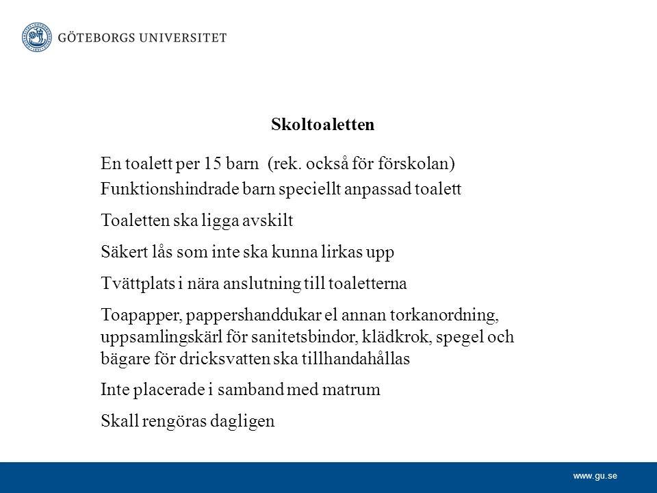 www.gu.se Skoltoaletten En toalett per 15 barn (rek.