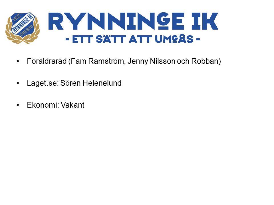 Föräldraråd (Fam Ramström, Jenny Nilsson och Robban) Laget.se: Sören Helenelund Ekonomi: Vakant