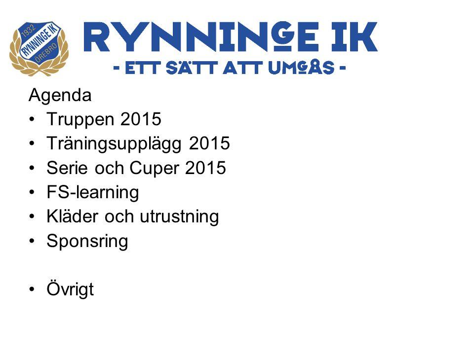 Agenda Truppen 2015 Träningsupplägg 2015 Serie och Cuper 2015 FS-learning Kläder och utrustning Sponsring Övrigt