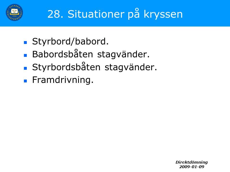 Direktdömning 2009-01-09 28. Situationer på kryssen Styrbord/babord. Babordsbåten stagvänder. Styrbordsbåten stagvänder. Framdrivning.