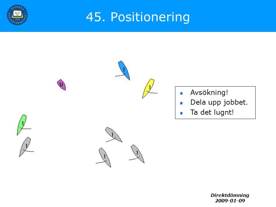 Direktdömning 2009-01-09 45. Positionering Avsökning! Dela upp jobbet. Ta det lugnt!