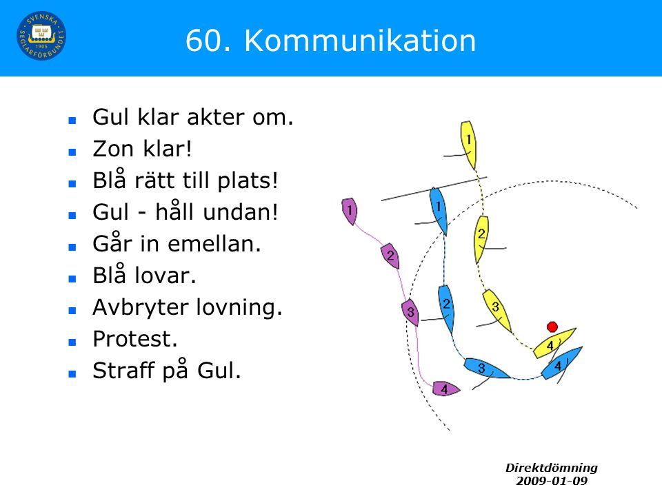 Direktdömning 2009-01-09 60. Kommunikation Gul klar akter om. Zon klar! Blå rätt till plats! Gul - håll undan! Går in emellan. Blå lovar. Avbryter lov