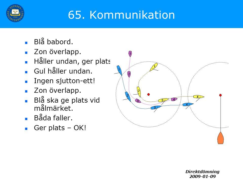 Direktdömning 2009-01-09 65. Kommunikation Blå babord. Zon överlapp. Håller undan, ger plats. Gul håller undan. Ingen sjutton-ett! Zon överlapp. Blå s