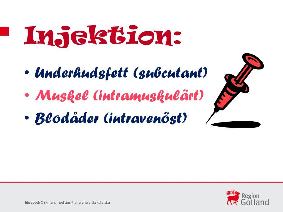 Underhudsfett (subcutant) Muskel (intramuskulärt) Blodåder (intravenöst) Injektion: Elisabeth C Ekman, medicinskt ansvarig sjuksköterska