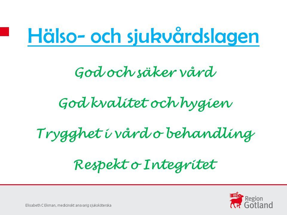 Hälso- och sjukvårdslagen God och säker vård God kvalitet och hygien Trygghet i vård o behandling Respekt o Integritet Elisabeth C Ekman, medicinskt ansvarig sjuksköterska