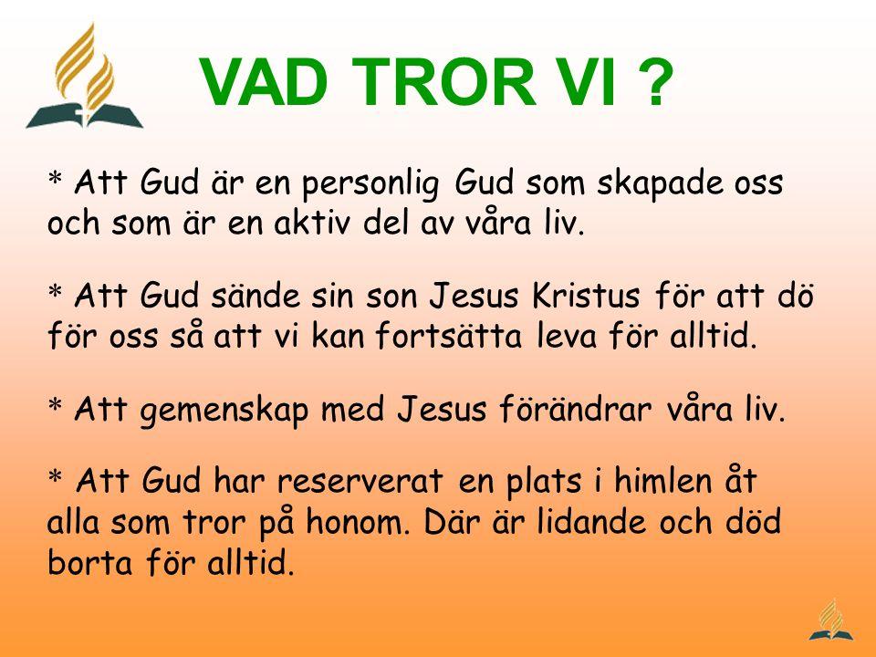 VAD TROR VI ? * Att Gud är en personlig Gud som skapade oss och som är en aktiv del av våra liv. * Att Gud sände sin son Jesus Kristus för att dö för