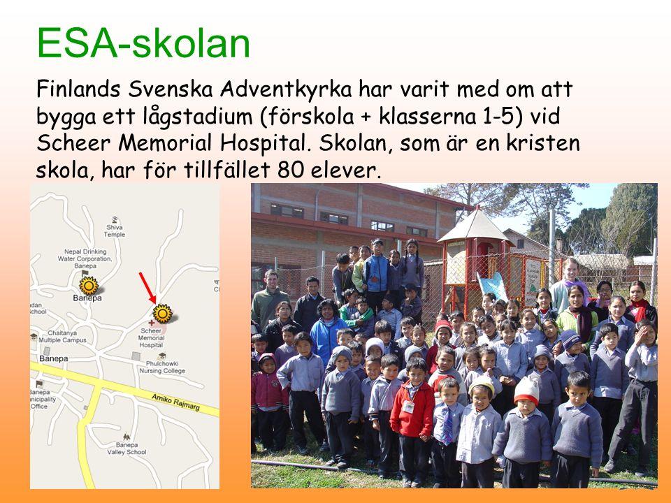 ESA-skolan Finlands Svenska Adventkyrka har varit med om att bygga ett lågstadium (förskola + klasserna 1-5) vid Scheer Memorial Hospital.
