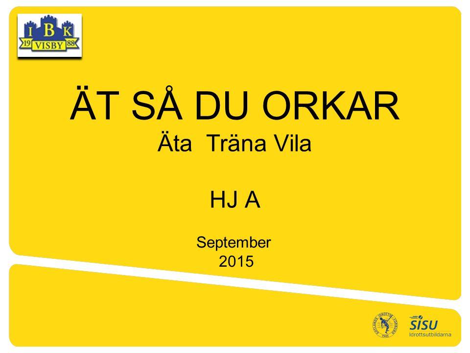 ÄT SÅ DU ORKAR Äta Träna Vila HJ A September 2015