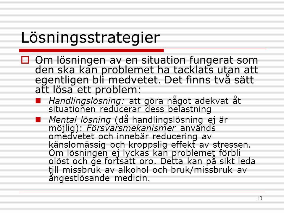 13 Lösningsstrategier  Om lösningen av en situation fungerat som den ska kan problemet ha tacklats utan att egentligen bli medvetet.