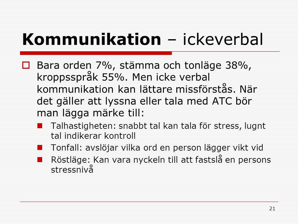 21 Kommunikation – ickeverbal  Bara orden 7%, stämma och tonläge 38%, kroppsspråk 55%.