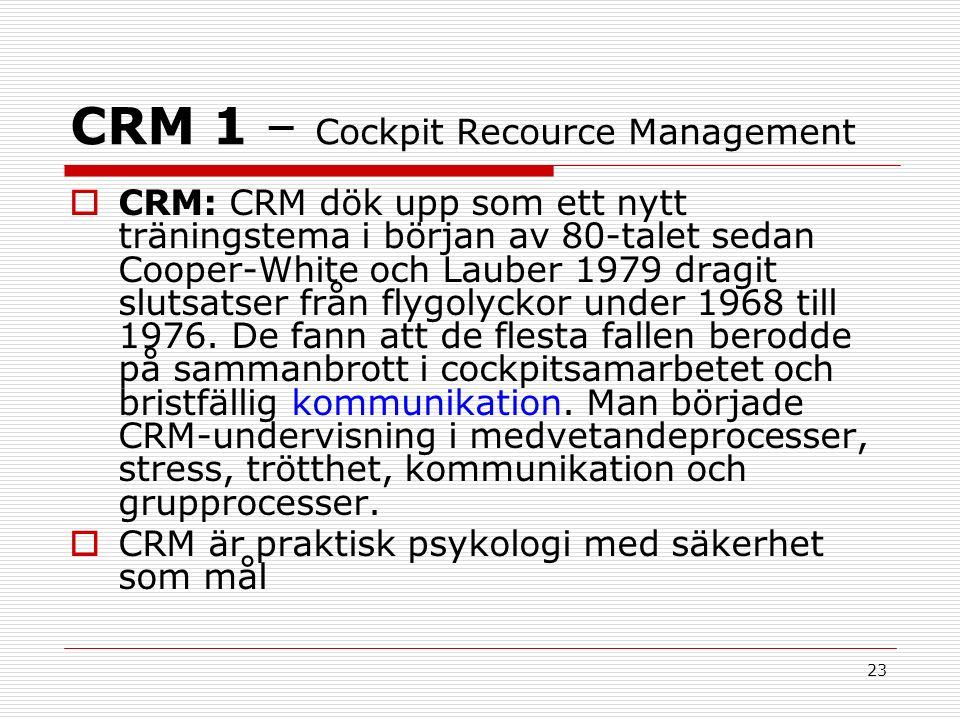 23 CRM 1 – Cockpit Recource Management  CRM: CRM dök upp som ett nytt träningstema i början av 80-talet sedan Cooper-White och Lauber 1979 dragit slutsatser från flygolyckor under 1968 till 1976.