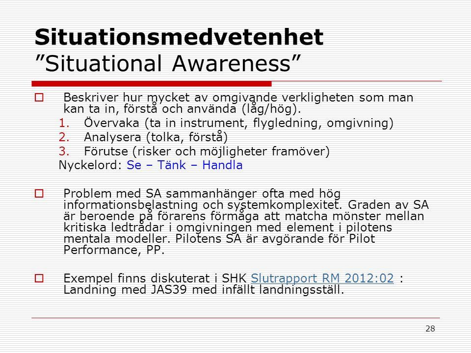 28 Situationsmedvetenhet Situational Awareness  Beskriver hur mycket av omgivande verkligheten som man kan ta in, förstå och använda (låg/hög).