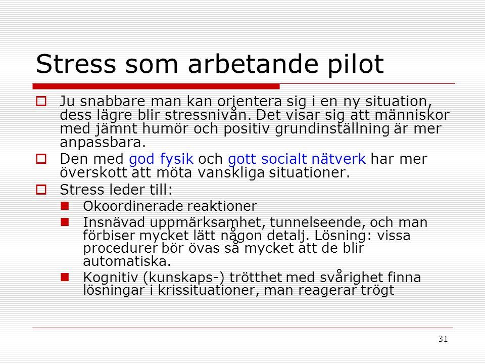 31 Stress som arbetande pilot  Ju snabbare man kan orientera sig i en ny situation, dess lägre blir stressnivån.