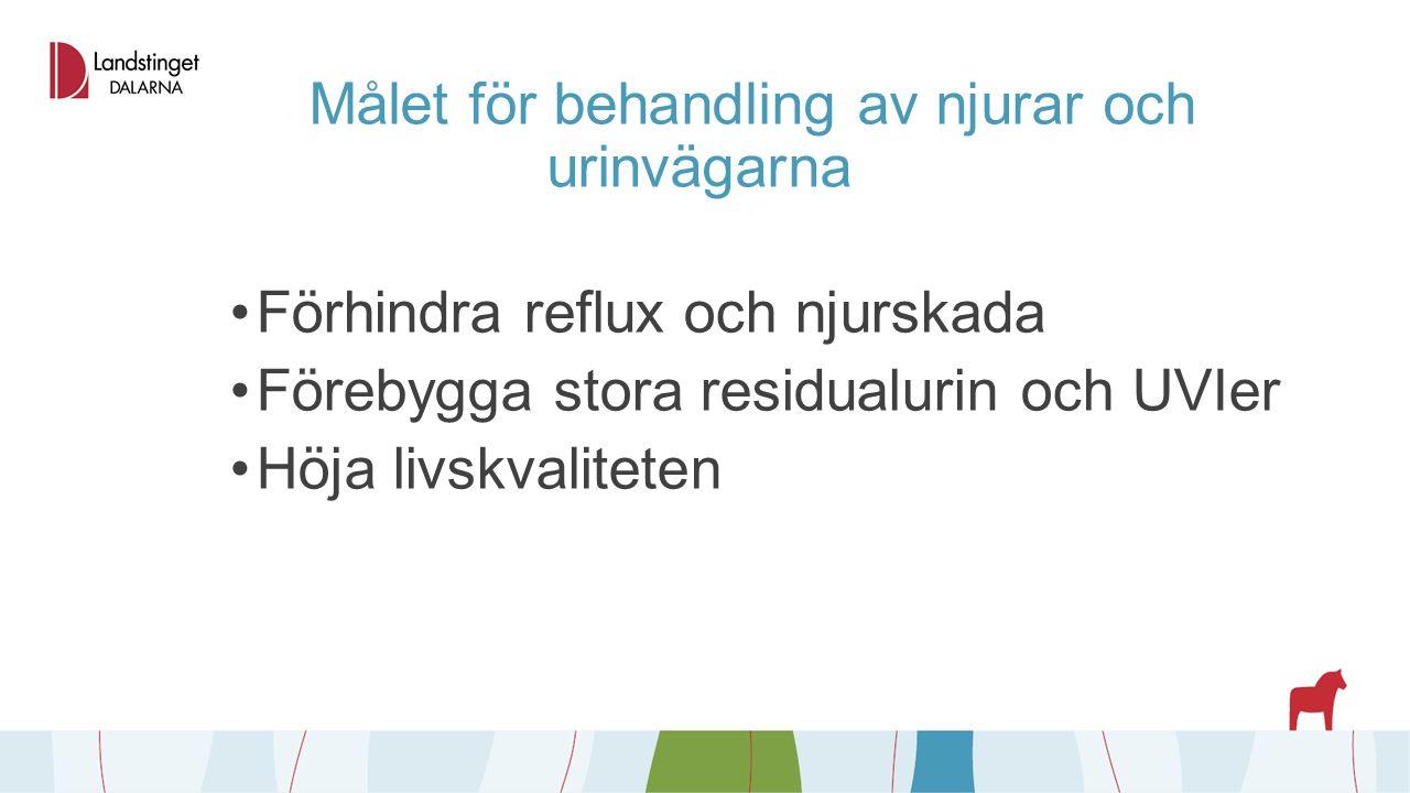 Målet för behandling av njurar och urinvägarna Förhindra reflux och njurskada Förebygga stora residualurin och UVIer Höja livskvaliteten