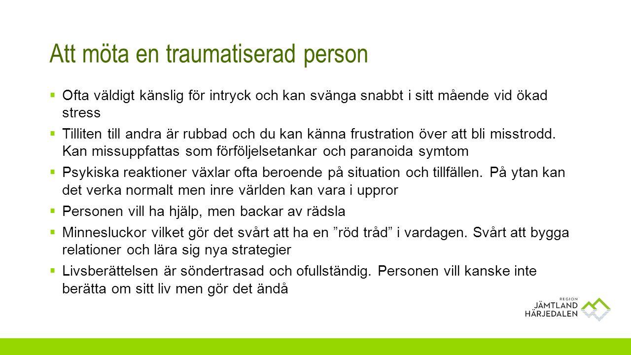 Att möta en traumatiserad person  Ofta väldigt känslig för intryck och kan svänga snabbt i sitt mående vid ökad stress  Tilliten till andra är rubba