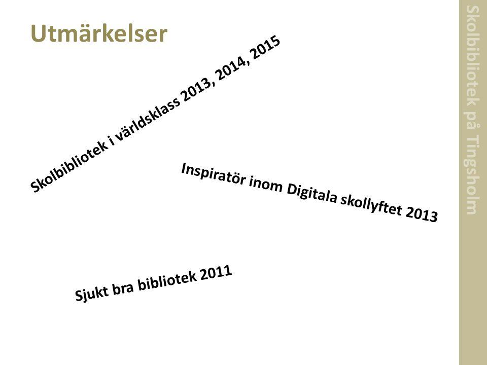 Skolbibliotek på Tingsholm Utmärkelser Skolbibliotek i världsklass 2013, 2014, 2015 Inspiratör inom Digitala skollyftet 2013 Sjukt bra bibliotek 2011