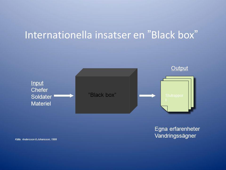 Internationella insatser en Black box Black box Input Chefer Soldater Materiel Output Slutrappor t Egna erfarenheter Vandringssägner Källa: Andersson & Johansson, 1999