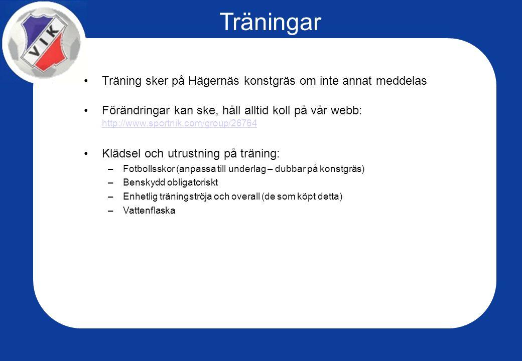 Träningar Träning sker på Hägernäs konstgräs om inte annat meddelas Förändringar kan ske, håll alltid koll på vår webb: http://www.sportnik.com/group/26764 http://www.sportnik.com/group/26764 Klädsel och utrustning på träning: –Fotbollsskor (anpassa till underlag – dubbar på konstgräs) –Benskydd obligatoriskt –Enhetlig träningströja och overall (de som köpt detta) –Vattenflaska
