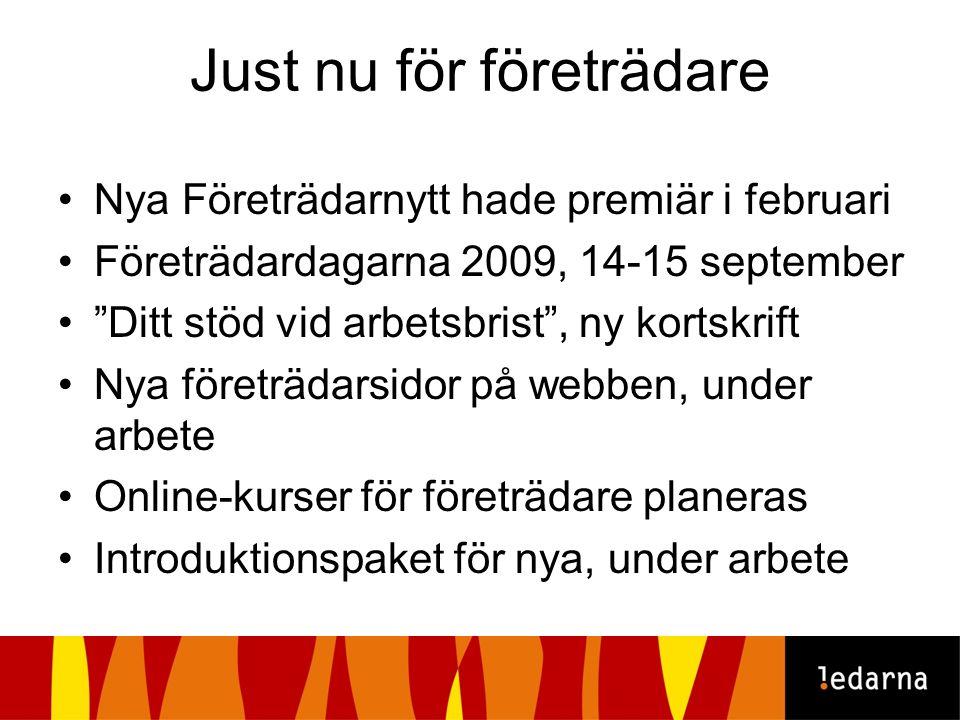 """Just nu för företrädare Nya Företrädarnytt hade premiär i februari Företrädardagarna 2009, 14-15 september """"Ditt stöd vid arbetsbrist"""", ny kortskrift"""