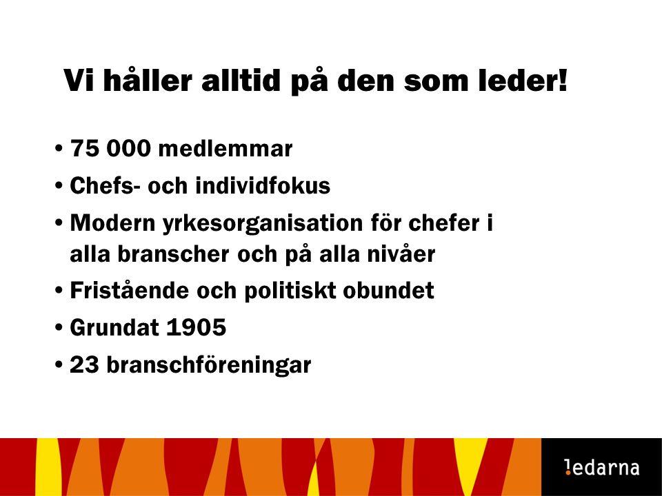75 000 medlemmar Chefs- och individfokus Modern yrkesorganisation för chefer i alla branscher och på alla nivåer Fristående och politiskt obundet Grun