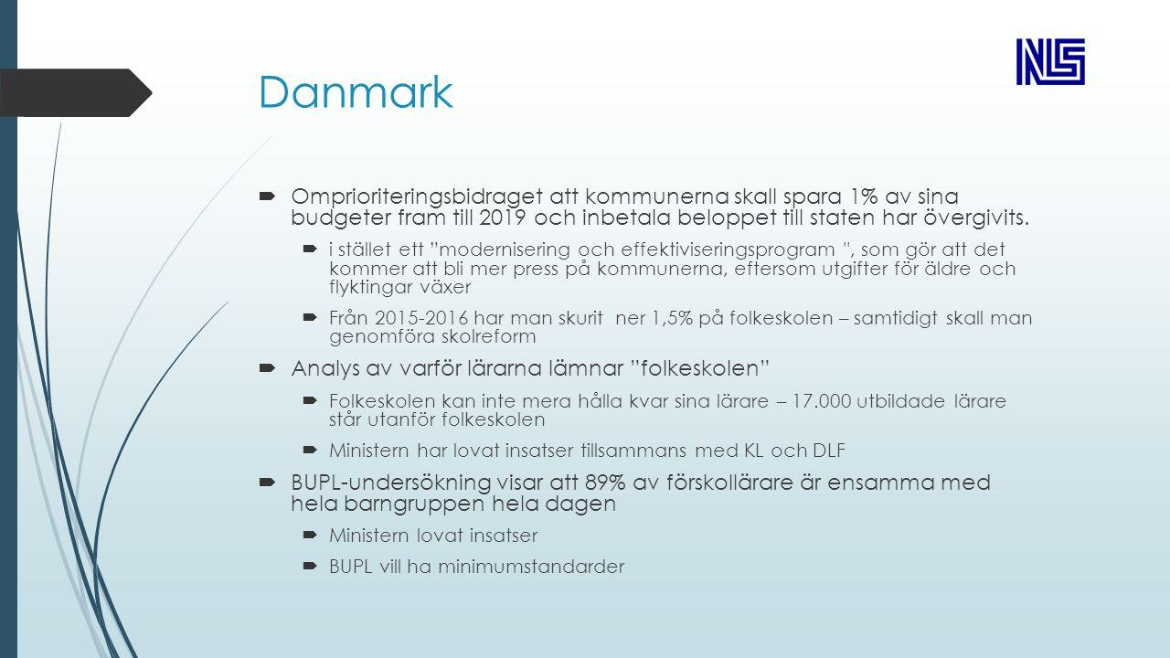 Danmark  Omprioriteringsbidraget att kommunerna skall spara 1% av sina budgeter fram till 2019 och inbetala beloppet till staten har övergivits.