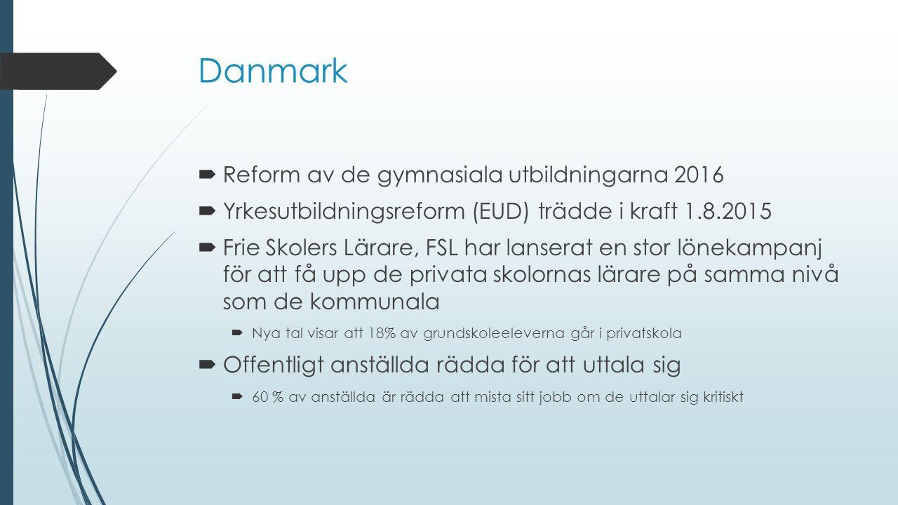 Danmark  Reform av de gymnasiala utbildningarna 2016  Yrkesutbildningsreform (EUD) trädde i kraft 1.8.2015  Frie Skolers Lärare, FSL har lanserat en stor lönekampanj för att få upp de privata skolornas lärare på samma nivå som de kommunala  Nya tal visar att 18% av grundskoleeleverna går i privatskola  Offentligt anställda rädda för att uttala sig  60 % av anställda är rädda att mista sitt jobb om de uttalar sig kritiskt