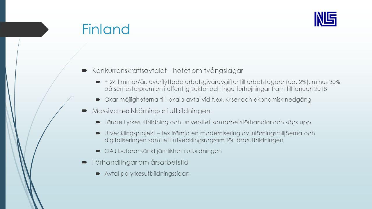 Finland  Konkurrenskraftsavtalet – hotet om tvångslagar  + 24 timmar/år, överflyttade arbetsgivaravgifter till arbetstagare (ca.