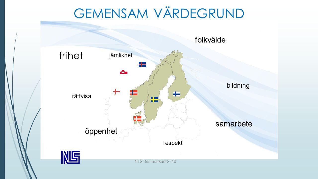 NLS Sommarkurs 2016 GEMENSAM VÄRDEGRUND frihet rättvisa jämlikhet folkvälde bildning samarbete respekt öppenhet