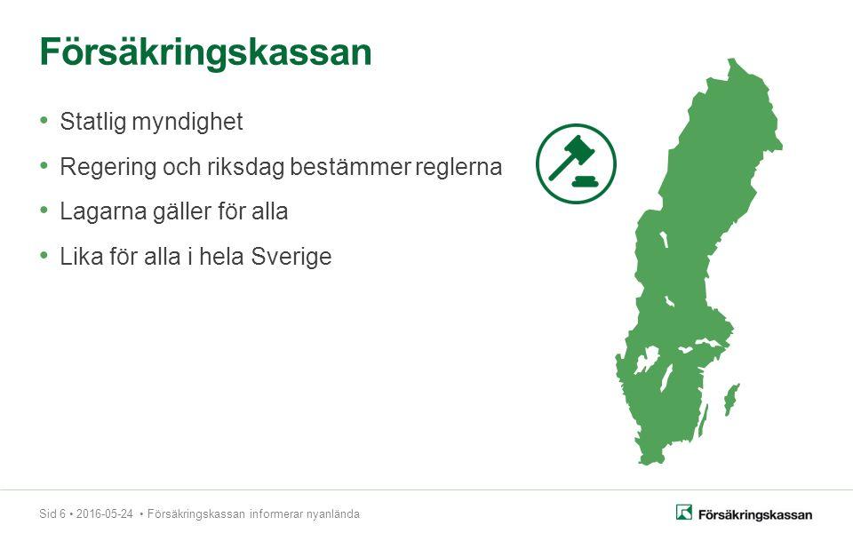 Sid 6 2016-05-24 Försäkringskassan informerar nyanlända Statlig myndighet Regering och riksdag bestämmer reglerna Lagarna gäller för alla Lika för alla i hela Sverige Försäkringskassan