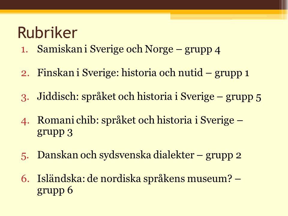 Rubriker 1.Samiskan i Sverige och Norge – grupp 4 2.Finskan i Sverige: historia och nutid – grupp 1 3.Jiddisch: språket och historia i Sverige – grupp