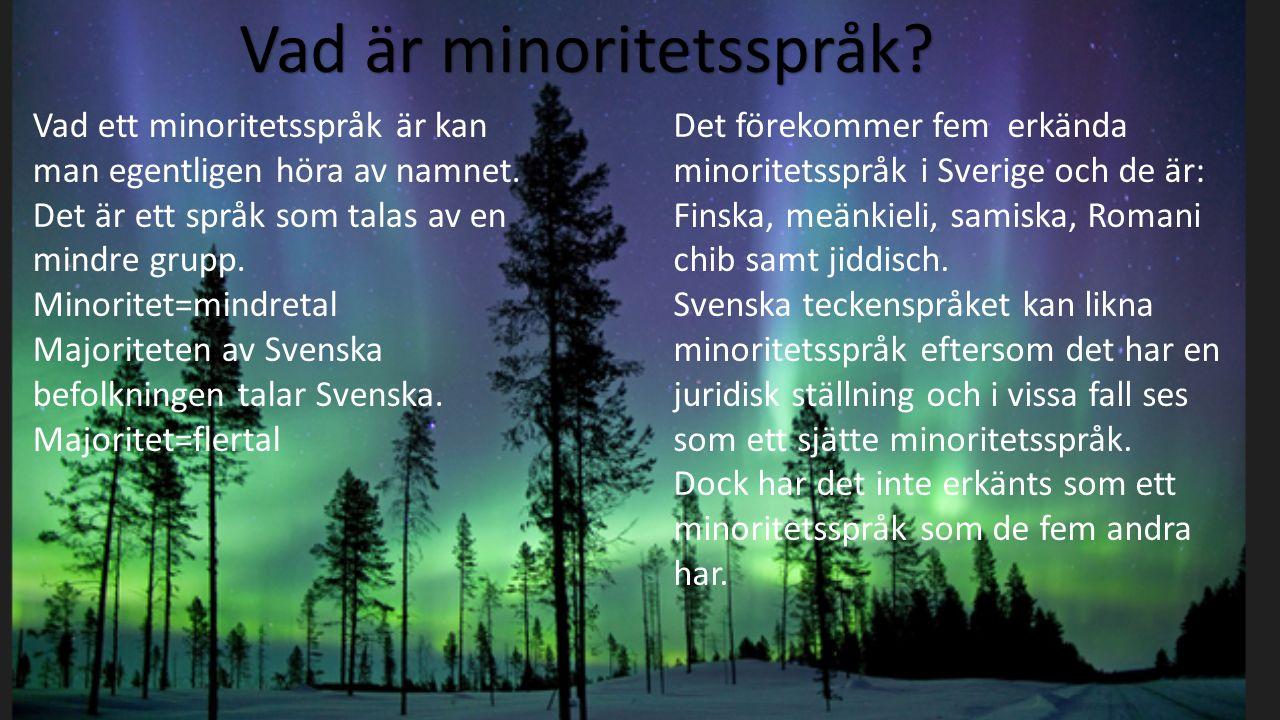 Vad är minoritetsspråk? Vad ett minoritetsspråk är kan man egentligen höra av namnet. Det är ett språk som talas av en mindre grupp. Minoritet=mindret