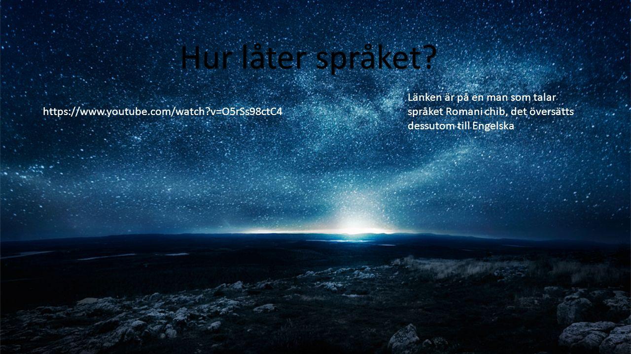 Hur låter språket? https://www.youtube.com/watch?v=O5rSs98ctC4 Länken är på en man som talar språket Romani chib, det översätts dessutom till Engelska