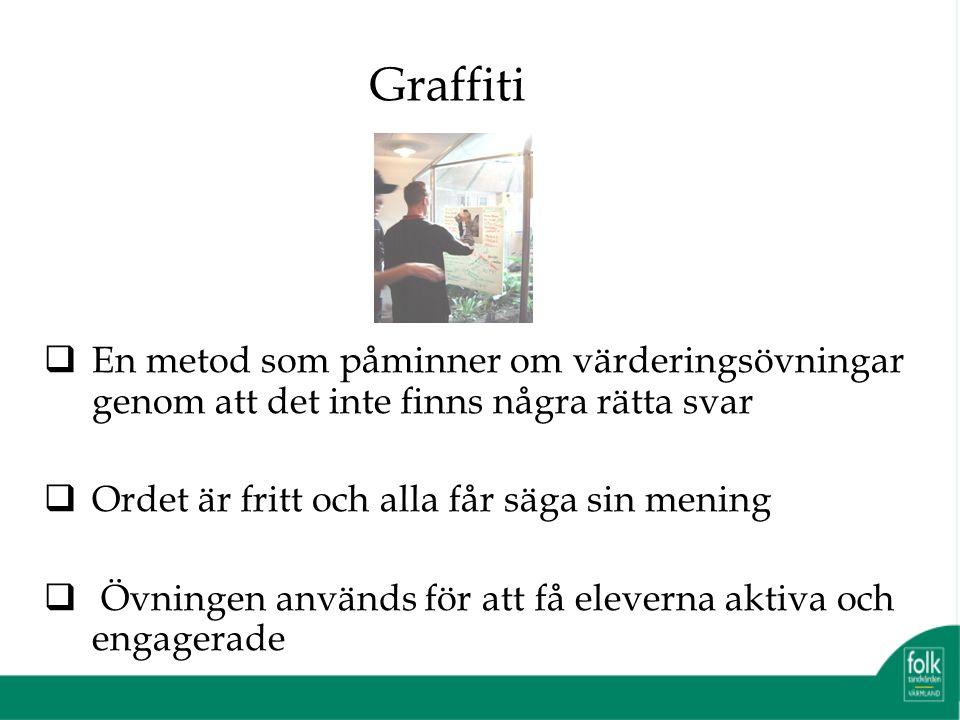 Graffiti  En metod som påminner om värderingsövningar genom att det inte finns några rätta svar  Ordet är fritt och alla får säga sin mening  Övningen används för att få eleverna aktiva och engagerade
