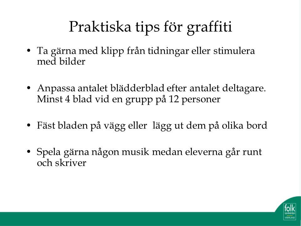 Praktiska tips för graffiti Ta gärna med klipp från tidningar eller stimulera med bilder Anpassa antalet blädderblad efter antalet deltagare.