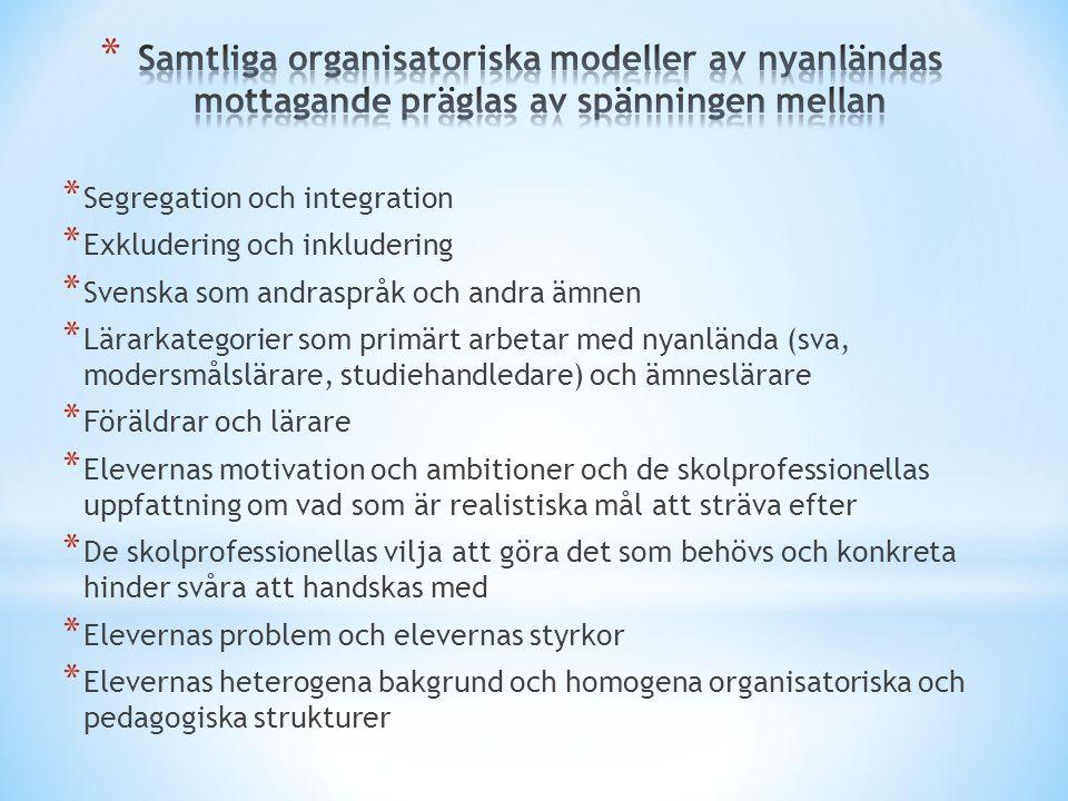 * Segregation och integration * Exkludering och inkludering * Svenska som andraspråk och andra ämnen * Lärarkategorier som primärt arbetar med nyanlän