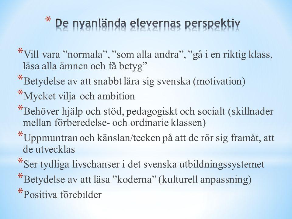 """* Vill vara """"normala"""", """"som alla andra"""", """"gå i en riktig klass, läsa alla ämnen och få betyg"""" * Betydelse av att snabbt lära sig svenska (motivation)"""